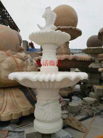 曲阳石雕汉白玉欧式喷泉室内流水摆件