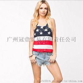 欧美风新款 个性撞色星星印花 时尚百搭打底t恤无袖工字背心