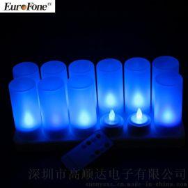 12充遥控蜡烛灯CL213812RB蓝光遥控可充电蜡烛