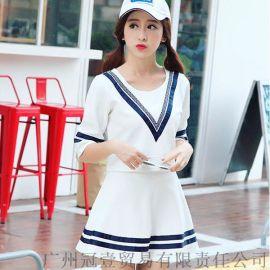 韩版学院风 休闲条纹情侣装 女装两件套装【免费加盟一件代发】