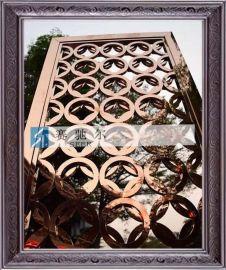 北京玫瑰金 咖啡色不锈钢圆圈屏风 花格玻璃隔断