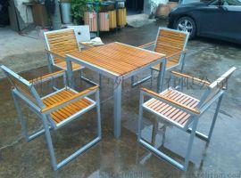 广州市专业生产庭园桌木套椅 户外桌木椅特价 户外广场桌木套椅