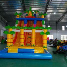 厂家直销新款儿童乐园淘气堡恐龙滑梯带水池蹦床城堡运动户外