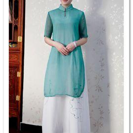 木棉道批发 夏新 假两件中国风连衣裙 手绘唐装 气质立领裙子16083