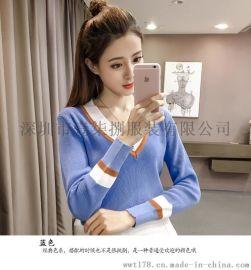 韩版新款秋冬新款V领套头针织衫女宽松毛衣显瘦长袖上衣