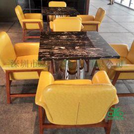 咖啡厅桌椅沙发 西餐厅/茶餐厅沙发桌椅家具定制 0243沙发餐桌组合