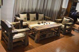 船木家具沙发,老船木无漆沙发4件套,