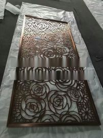 佛山嵘洪RH-2016厚板不锈钢镂空玫瑰花屏风