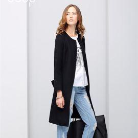 2016秋冬新款轻熟修身中长款OL腰带圆领双面羊毛呢大衣外套女