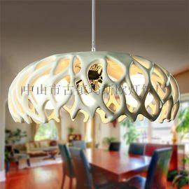 设计师艺术创意鸟巢款式玛斯欧树脂三头E27LED3w球泡室内吊灯MS-P1007L餐厅吊灯