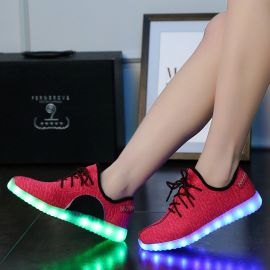 外贸爆款LED鞋usb椰子灯鞋男女童运动鞋七彩发光板鞋夜光荧光鞋