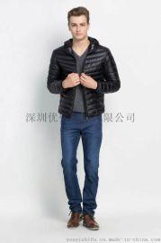 深圳优亿 厂家现货供应 男装羽绒服 轻薄款羽绒服