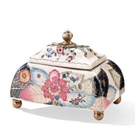 卡詩蘭諾 歐式家居軟裝工藝品擺件創意陶瓷鑲銅收納儲物裝飾盒