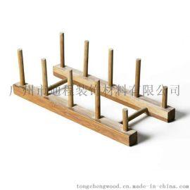 碟碗沥水架 木质碗盘架 木质沥水架 厨房置物架日式杯架zakka创意厨具收纳架