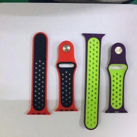苹果硅胶表带 双色硅胶手表带 模压双色成型硅胶表带