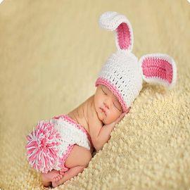 欧美男女新生儿摄影服兔子造型婴儿针织帽裤套装百日宝宝礼盒批发