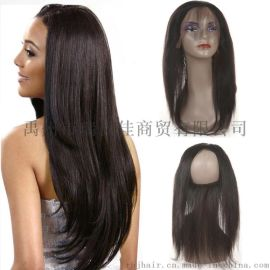 直条360真人发块 全蕾丝发块前头配件 22x4x2inch 外贸欧美印度真人发