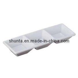 韩式烧烤密胺三格味碟(密胺树脂/美耐皿/科学瓷)