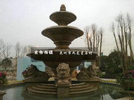 欧式水钵 石材户外喷水池 石雕动物水钵 水钵生产厂家