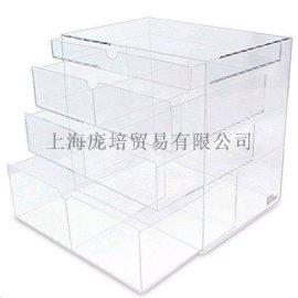 无印良品同款亚克力透明化妆盒 手工透明四层亚克力化妆盒