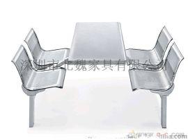 不锈钢餐桌椅201-4人连体多人连体桌椅、201不锈钢连体餐桌椅、 玻璃钢快餐桌椅、玻璃钢餐桌椅