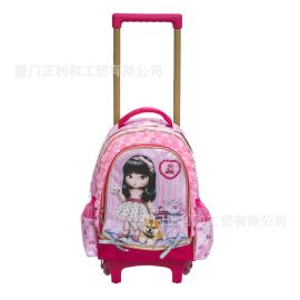 厂家定制时尚韩版小学生拉杆书包儿童背包带轮子户外定制拉杆包