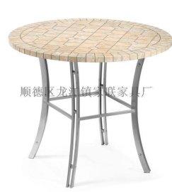 【家联家具】OP-T08高档不锈钢户外休闲野餐石面柚木餐桌可拆