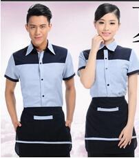 西餐厅火锅店饭店餐饮工作服夏装 服务员服装
