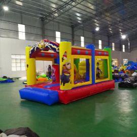 厂家直销新款淘气堡儿童乐园游艺设施小黄人充气跳床长形滑梯室内