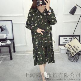 春装新款大码女装韩版宽松显瘦娃娃衫碎花雪纺连衣裙长袖批发加工