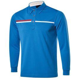 港茵 秋季款高尔夫运动服装定制 男式长袖 舒适透气球服logo印花定制