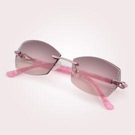 厂家直销时尚新款潮人太阳镜 女士无框钻石切边墨镜 金属太阳眼镜