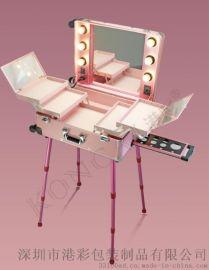 大型拉杆萬向輪化妝箱 帶燈帶支架鏡子LED燈化妝箱新品