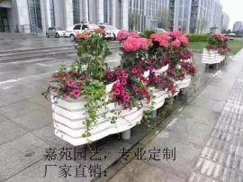 厂家定制 PVC微发泡街道隔离花箱花器花桶户外脸谱花盆园艺种植箱