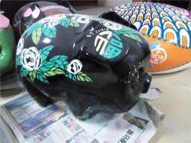 卡通小猪 树脂卡通小猪 玻璃钢卡通彩绘储钱罐雕塑定做厂家