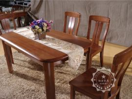 恆嶽家具中式家具 純實木餐桌椅組合 圓角矩形 水曲柳飯桌