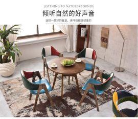 北欧咖啡厅实木A字椅 美式简约休闲椅