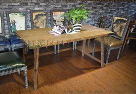 美式实木餐桌 铁皮包边工业风洽谈桌 可定制