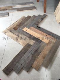 纯旧木地板老木头船甲板木料自然风化松木硬杂木实木复合翻新再造