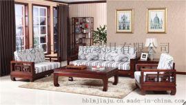 中式环保实木家具木言木语禅意实木沙发
