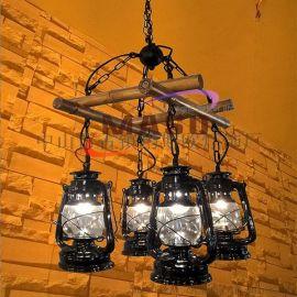 瑪斯歐自主開發竹排煤油四頭美式復古鄉村藝術自然餐廳酒吧吊燈MS-P9004 竹排吊燈