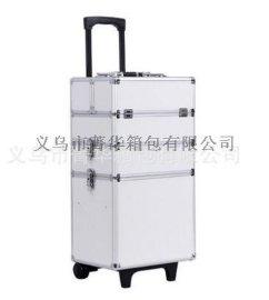 厂家直销万向轮拉杆行李箱手提包旅行箱大铝合金化妆箱JH571