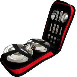 便携户外餐具套装旅行自驾游用品野餐包成人饭盒筷子双人碗不锈钢