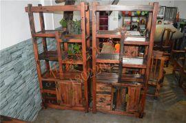 船木家具博古架,两门3抽规则博古。船木多宝阁