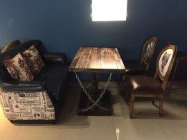 主題餐廳工業風做舊木地板地磚餐桌椅 可定制