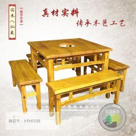 实木八仙桌椅方形餐桌椅组合,快餐桌椅,品艺家具火锅餐桌椅批发
