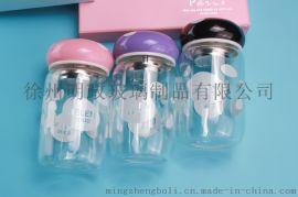 蘑菇水杯子玻璃杯便携随手韩国可爱创意韩版迷你带盖女学生茶杯