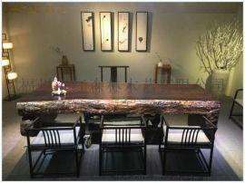黑檀天然脚平桌整体桌天然桌原木茶桌实木办公家具