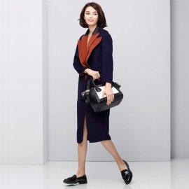 2016秋冬新款纯色荷叶领英伦OL简约气质双面羊毛呢大衣外套女包邮