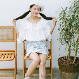 日韩小清新娃娃衫 荷叶边拼接 甜美百搭中袖上衣【外贸女装现货批发】